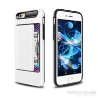 Microsonic İphone 6S Plus Kılıf Kredi Kartlıklı Cüzdanlı Armor Beyaz