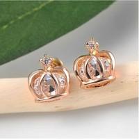 Betico Fashion Rose Gold Kristal Taşlı Taç Küpe