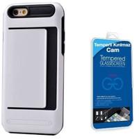 Teleplus İphone 6 Cüzdanlı Çift Katmanlı Kılıf Kapak Beyaz + Cam Ekran Koruyucu