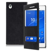 Teleplus Sony Xperia Z3 Çift Pencereli Kılıf Siyah