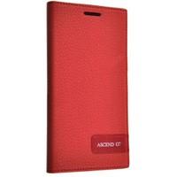 Teleplus Huawei Ascend G7 Lüx Flip Cover Kılıf Kırmızı