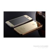 Teleplus İphone 5S Renkli Cam Ekran Koruyucu Ön + Arka Cam Ekran Koruyucu Gold