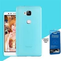 Teleplus Huawei Gr5 Silikon Kılıf Mavi + Cam Ekran Koruyucu