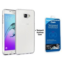 Teleplus Samsung Galaxy A7 2016 Silikon Kılıf Şeffaf + Temperli Cam Ekran Koruyucu