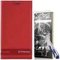 KılıfShop Sony Xperia Z5 Premium Kapaklı Magnum Kılıf Ekran Koruyucu