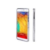 Microsonic Samsung Galaxy Note 4 Taşlı Metal Bumper Kılıf Gümüş