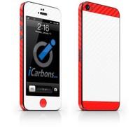 iCarbons Apple iPhone 5 Çift Renk 3M Beyaz-Kırmızı Karbon Fiber Kaplama Kılıf