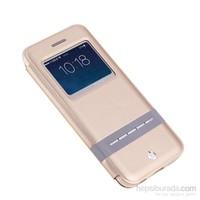 Totu Design Apple iPhone 6 Manyetik Kapaklı Gold Suni Deri Kılıf*