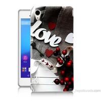 Teknomeg Sony Xperia M4 Aqua Kapak Kılıf Love Baskılı Silikon