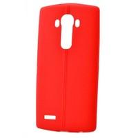 Teleplus Lg G3 Deri Görünümlü Silikon Kılıf Kırmızı