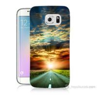 Teknomeg Samsung Galaxy S6 Edge Kapak Kılıf Yol Baskılı Silikon