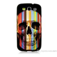 Teknomeg Samsung Galaxy S3 Kapak Kılıf Renkli Kurukafa Baskılı Silikon
