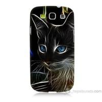 Teknomeg Samsung Galaxy S3 Kapak Kılıf Dumanlı Kedi Baskılı Silikon