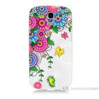 Teknomeg Samsung Galaxy S3 Kapak Kılıf Çiçek Ve Kelebek Baskılı Silikon