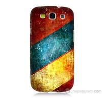 Teknomeg Samsung Galaxy S3 Kapak Kılıf Renkli Metal Baskılı Silikon