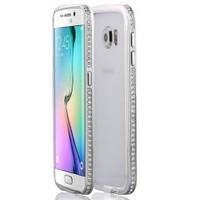 Microsonic Samsung Galaxy S6 Edge Kılıf Taşlı Metal Bumper Gümüş