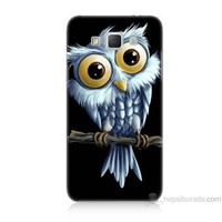 Teknomeg Samsung Galaxy Grand Max Kapak Kılıf Beyaz Baykuş Baskılı Silikon