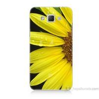 Teknomeg Samsung Galaxy Grand Max Kapak Kılıf Sarı Çiçek Baskılı Silikon