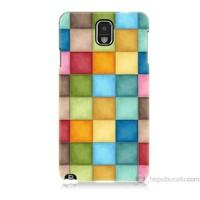Teknomeg Samsung Galaxy Note 3 Kapak Kılıf Renkli Kareler Baskılı Silikon