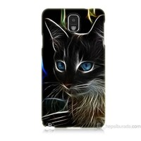 Teknomeg Samsung Galaxy Note 3 Kapak Kılıf Dumanlı Kedi Baskılı Silikon