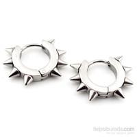 Solfera Sivri Uçlu Gümüş Renk Çelik Halka Küpe