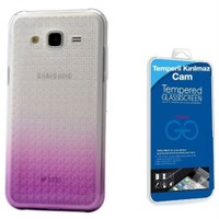 Teleplus Samsung Galaxy J5 Çift Renkli Silikon Kılıf Lila + Cam Ekran Koruyucu