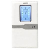Teleplus Lg G2 Lüx Uyku Modlu Pencereli Kılıf Beyaz