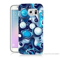 Teknomeg Samsung Galaxy S6 Edge Plus Kapak Kılıf Derin Mavi Baskılı Silikon