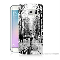Teknomeg Samsung Galaxy S6 Edge Plus Kapak Kılıf Siyah Beyaz Baskılı Silikon