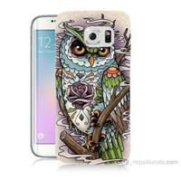 Teknomeg Samsung Galaxy S6 Edge Plus Kapak Kılıf Çiçekli Baykuş Baskılı Silikon