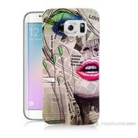Teknomeg Samsung Galaxy S6 Edge Plus Kapak Kılıf Gazete Kadın Baskılı Silikon