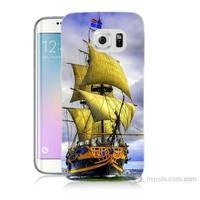 Teknomeg Samsung Galaxy S6 Edge Plus Kapak Kılıf Gemi Baskılı Silikon