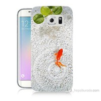 Teknomeg Samsung Galaxy S6 Edge Plus Kapak Kılıf Kırmızı Balık Baskılı Silikon
