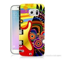 Teknomeg Samsung Galaxy S6 Edge Plus Kapak Kılıf Renkli Gitar Baskılı Silikon