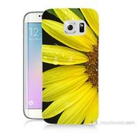 Teknomeg Samsung Galaxy S6 Edge Plus Kapak Kılıf Sarı Çiçek Baskılı Silikon