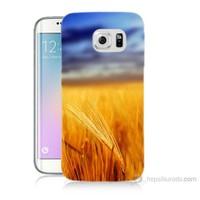 Teknomeg Samsung Galaxy S6 Edge Plus Kapak Kılıf Sarı Mavi Baskılı Silikon