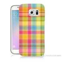 Teknomeg Samsung Galaxy S6 Edge Plus Kapak Kılıf Ekose Baskılı Silikon