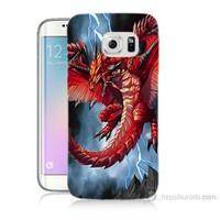 Teknomeg Samsung Galaxy S6 Edge Plus Kapak Kılıf Dragon Baskılı Silikon