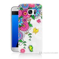 Teknomeg Samsung Galaxy S7 Kapak Kılıf Çiçek Ve Kelebek Baskılı Silikon