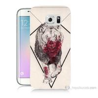 Teknomeg Samsung Galaxy S6 Edge Kapak Kılıf Kanlı Aslan Baskılı Silikon