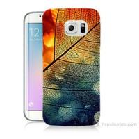 Teknomeg Samsung Galaxy S6 Edge Kapak Kılıf Yaprak Baskılı Silikon