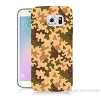 Teknomeg Samsung Galaxy S6 Edge Kapak Kılıf Kamufulaj Baskılı Silikon