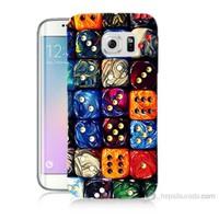 Teknomeg Samsung Galaxy S6 Edge Kapak Kılıf Zarlar Baskılı Silikon