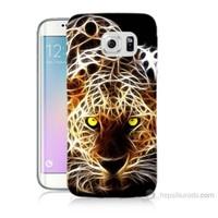 Teknomeg Samsung Galaxy S6 Edge Kapak Kılıf Yanan Aslan Baskılı Silikon