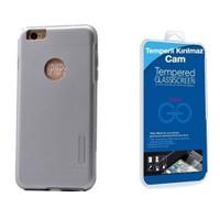 Teleplus İphone 6 Plus Çift Katmanlı Kapak Kılıf Gümüş + Cam Ekran Koruyucu