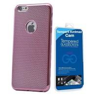 Teleplus İphone 6S Plastik Ve Silikon Karışımı Kılıf Pembe + Temperli Cam Ekran Koruyucu