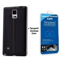 Teleplus Samsung Galaxy Note 3 Dikişli Silikon Kılıf Siyah + Cam Ekran Koruyucu
