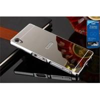 Teleplus Sony Xperia Z5 Premium Aynalı Kapak Gümüş + Cam Ekran Koruyucu