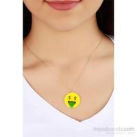 Morvizyon Dolar Detaylı Emoji Bayan Kolye