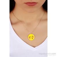 Morvizyon Trend Utangaç Öpücük İfadeli Emoji Bayan Kolye